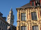lille - façade vieille bourse + beffroi cci poster