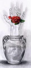 hand flower vase
