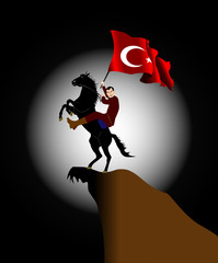 turkey flag and horse&rider2