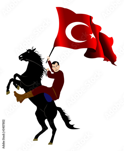 turkey flag and horse&rider1