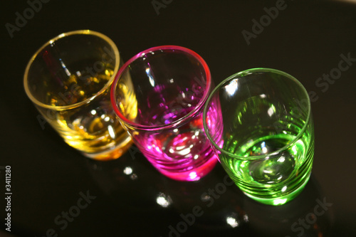 colorful shot glasses