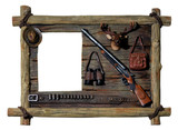 decorative wooden picture frame hunter theme poster