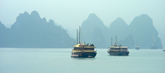 tourist boat in phang-nga bay - thailand - asia