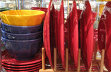 yellow, blue and red dishes