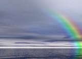 overcast landscape. rainbow poster
