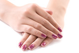 manicured female hands against white background poster