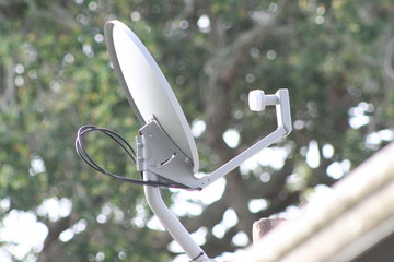 satellite dish on a roof