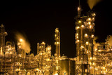 oil refinery at night-