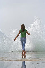 girl with wave splash