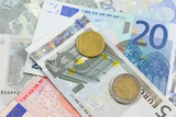 euro notes and coins poster