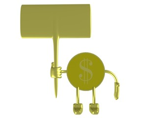 gold dollar a holding banner. 3d image.