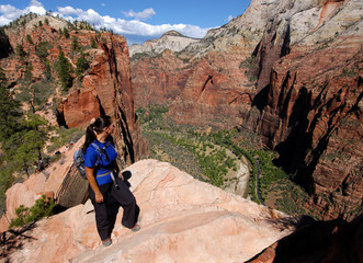 Woman hiking Angels Landing in Zion National Park