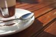 glass coffee mug on wooden table