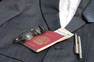 suit jacket and passport