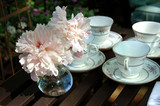 china porcelain cups with peonies poster
