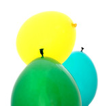green, yellow and blue balloons