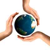 conceptual recycling symbol over earth globe poster