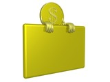 gold dollar a holding banner. 3d image. poster