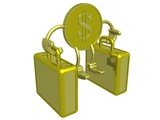 gold dollar carry two suitcases. 3d image. poster
