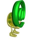 gold dollar holding symbol @. 3d image. poster
