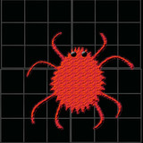 red fuzzy bug poster