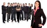 business team with a businesswoman leading poster