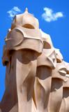 gaudhi or gaudi sculptures in barcelona poster
