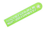 green ruler with alphabet poster