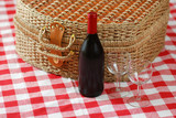 picnic basket with wine and glasses poster