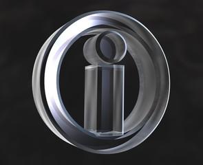 simbolo informazione info in vetro - glass info