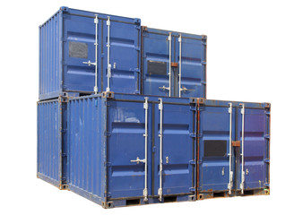 ship cargo containers, isolated on a white backgro