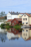 colourful scandinavian houses poster