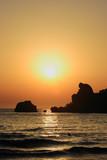 beautiful beach at sunset on corfu island, greece poster