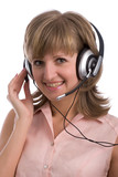 smiling young woman with headset poster