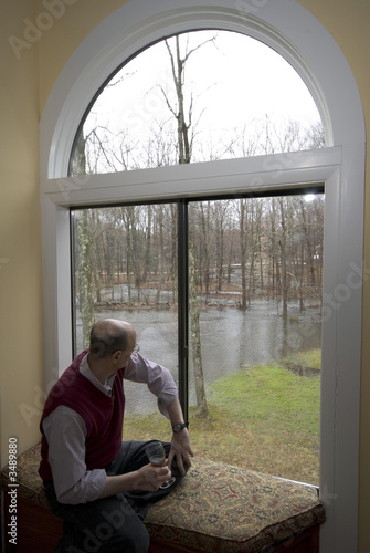 looking at flooded backyard