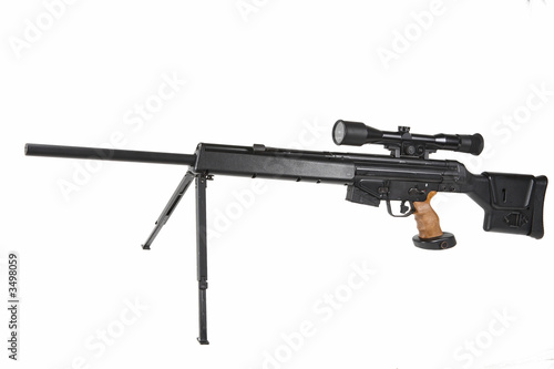poster of sniper rifle on the tripod and optical sight