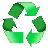a green recycle symbol poster