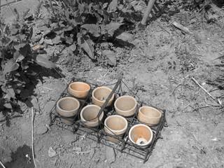 Clay Pots in Garden