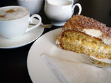 fancy cake with cappuccino poster