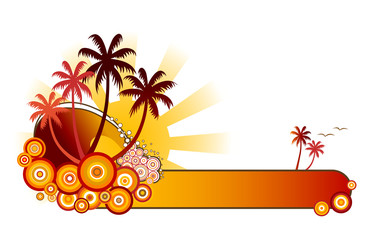 tropical beach banner-red