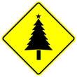 yellow christmas tree sign