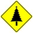 yellow christmas tree sign
