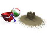 sandcastle with beach ball, bucket and spade poster