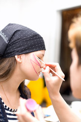 preparing make up to actress before scene #3