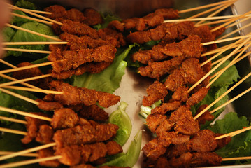 cooked satay foods in the pan