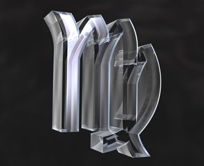 simbolo astrologico della vergine in vetro trasparente
