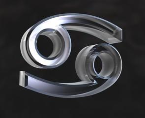 simbolo astrologico del cancro in vetro trasparente