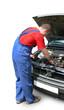 mechanic fixing car engine. auto repair.