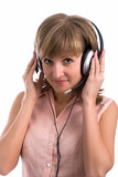 Young business woman with headset poster
