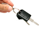 Handle electronic car key on white background poster